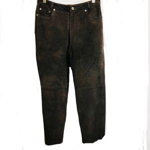 Vintage Bagatelle Brown Suede Leather Pants